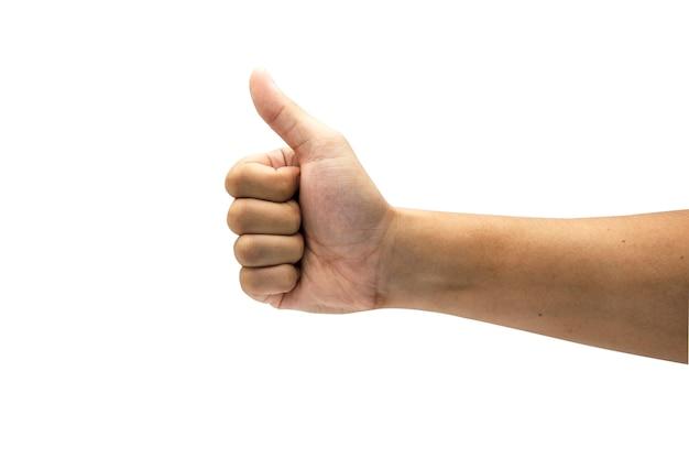 Als teken van gebarenhand en duim opdoen. geïsoleerd op witte achtergrond