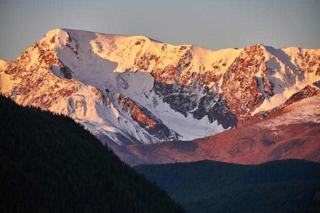 Altai, besneeuwde bergen bij zonsondergang