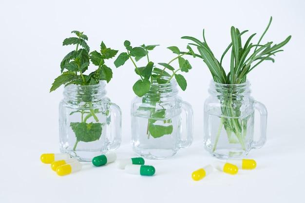 Alternatief medicijn. kruidencapsules en pillen naast verse munt en rozemarijnblaadjes in glazen potten