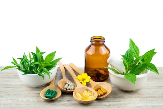 Alternatieve geneeskunde, pillentablet, capsule en vitamine organische supplementen