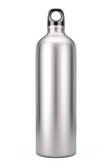 Aluminium fiets water sport fles mockup op een witte achtergrond. 3d-rendering