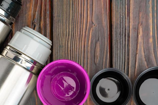Aluminium metalen thermos container fles close-up