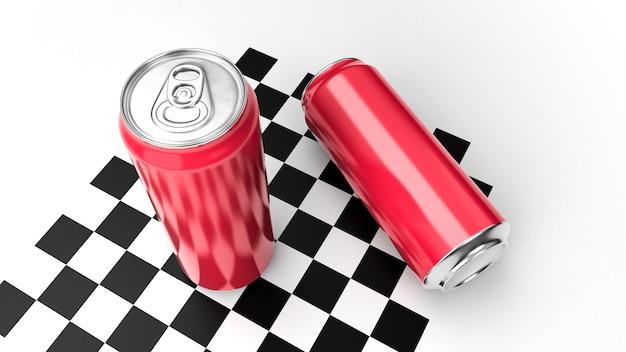 Aluminium red soda can 3d-rendering