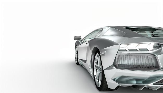 Aluminiumkleurige supercar op een witte ondergrond