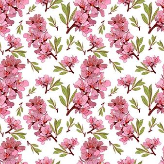 Amandel bloemen handgetekende patroon
