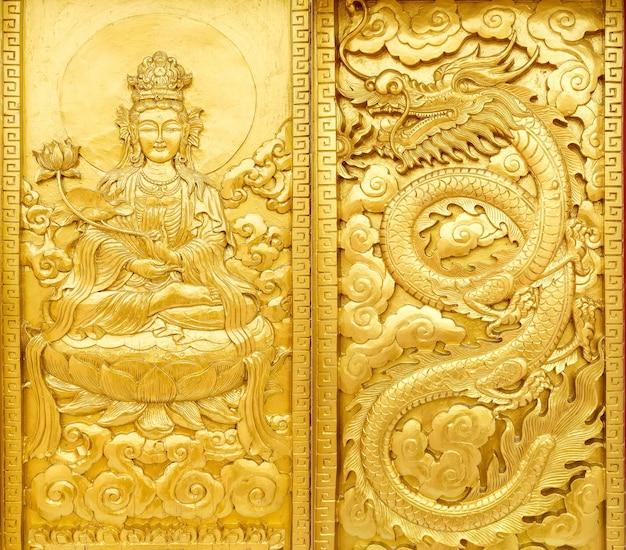 Ambacht van gouden guan yin en draak
