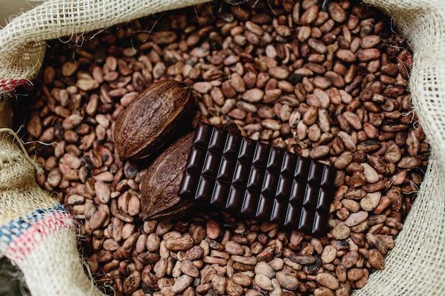 Ambachtelijke chocolademelk, bonen en donkere choco