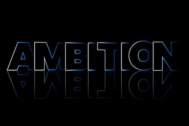 Ambitie schaduwstijl typografie op zwarte achtergrond