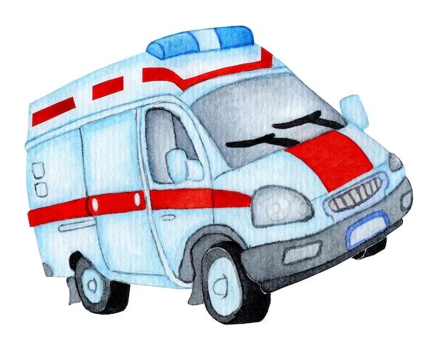 Ambulance auto. aquarel illustratie van een ambulance paramedicus. ambulance medische evacuatie geïsoleerd op een witte achtergrond. met de hand getekend.