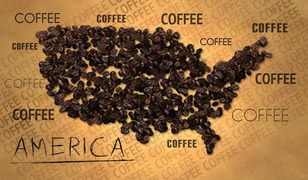 Amerika kaart coffee bean producent op oud papier
