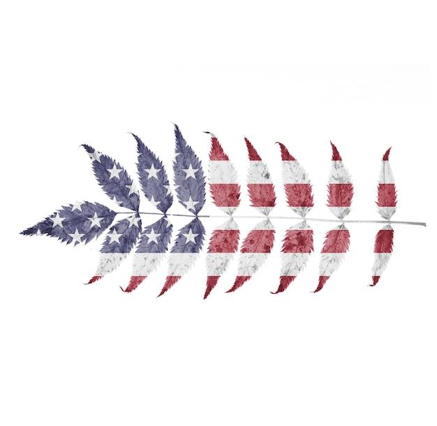 Amerika's vlag op een blad is geïsoleerd op een witte achtergrond