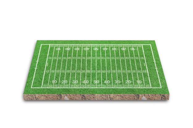 Amerikaans voetbalveld met lijnpatroon op wit wordt geïsoleerd
