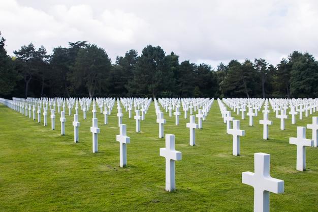 Amerikaanse begraafplaats uit de tweede wereldoorlog in de franse regio normandie.