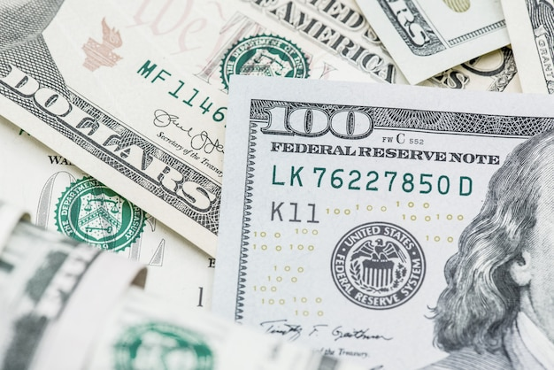 Amerikaanse dollar valuta, bankbiljetten van amerika, geld en financiën