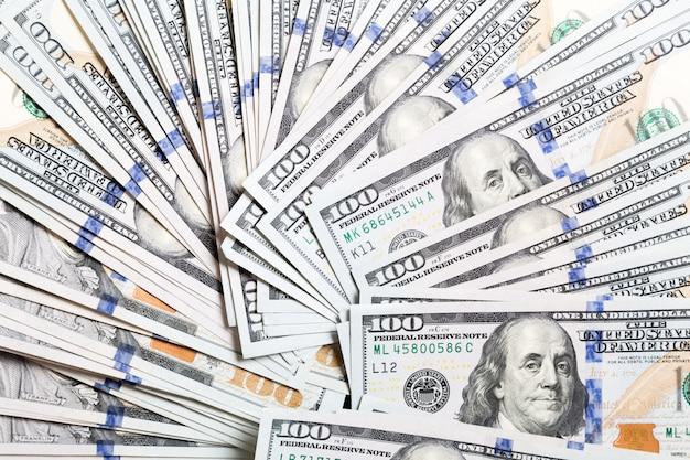 Amerikaanse dollarbiljetten. honderd dollarbiljetten