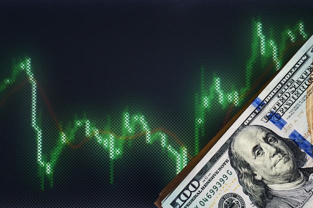 Amerikaanse dollarrekeningen op een achtergrond met dynamiek van wisselkoersen. handels- en financiële risicoconcept