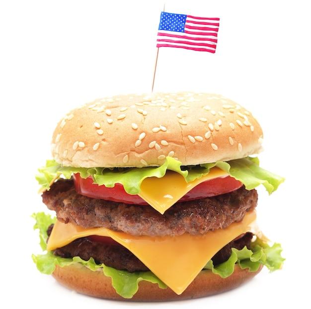 Amerikaanse hamburger geïsoleerd