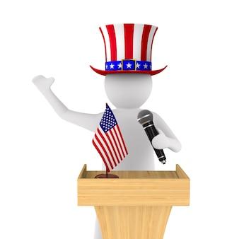Amerikaanse man spreekt met microfoon op wit.
