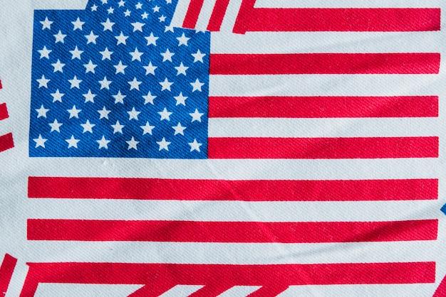 Amerikaanse vlag gedrukt op stof