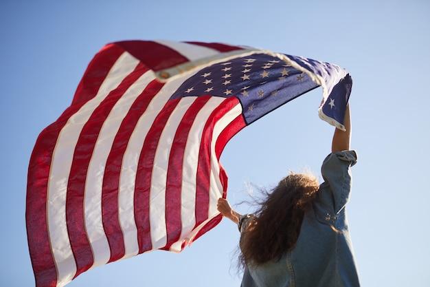 Amerikaanse vlag in de wind