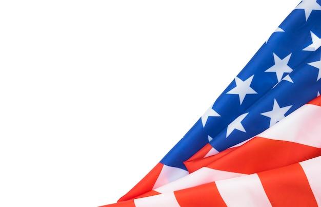 Amerikaanse vlag op wit met kopie ruimte