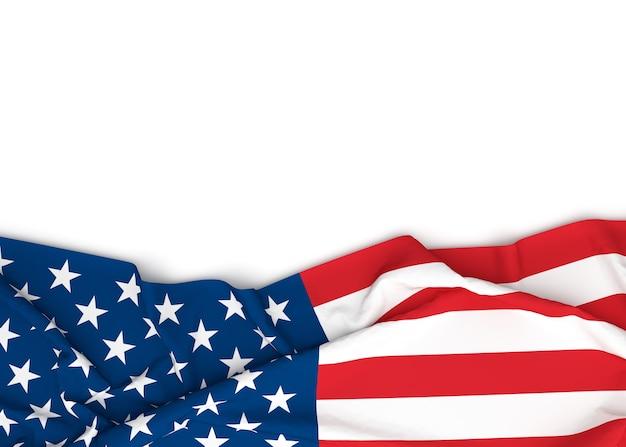 Amerikaanse vlag op witte achtergrond met exemplaarruimte