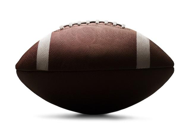 Amerikaanse voetbalbal die op witte achtergrond wordt geïsoleerd