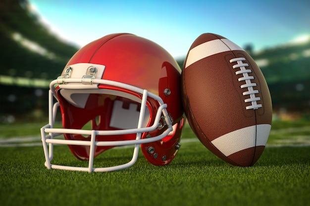 Amerikaanse voetbalbal en helm op het gras van voetbalarena of stadion. 3d illustratie