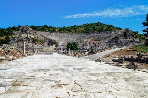 Amfitheater (colosseum) in efeze (efes) turkije, azië