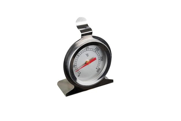 Analoge meetapparatuur meter op een witte achtergrond. thermometer met een rode pijl met cijfers. geïsoleerd. geïsoleerd.