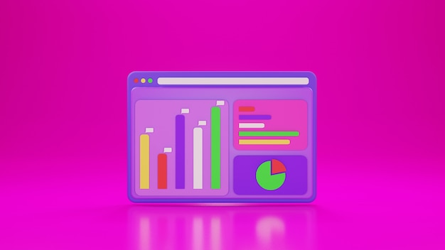 Analytische applicatie met pictogramgrafiek en roze achtergrond in 3d-ontwerp