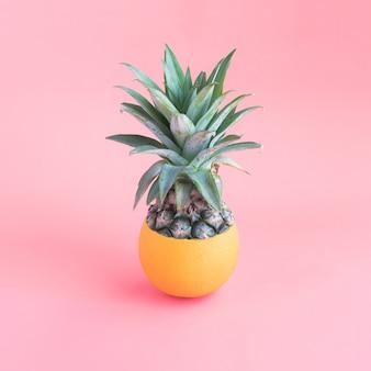 Ananas mengen met oranje op roze pastelkleur