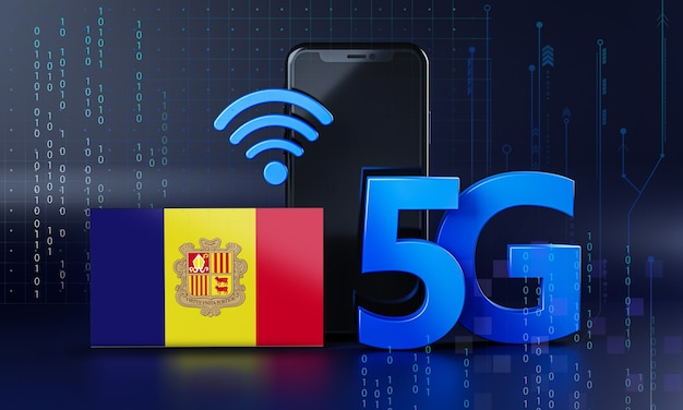 Andorra klaar voor 5g-verbindingsconcept. 3d-rendering smartphone technische achtergrond