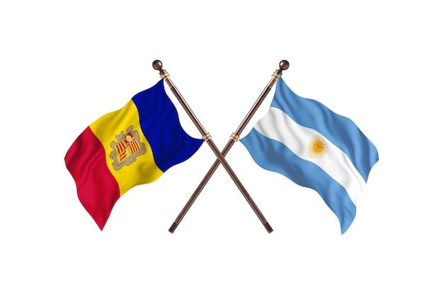 Andorra versus argentinië twee landen vlaggen achtergrond