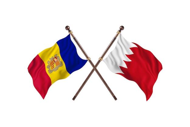 Andorra versus bahrein twee landen vlaggen achtergrond