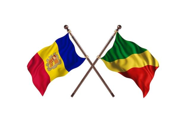 Andorra versus congo-republiek van de twee landen vlaggen achtergrond