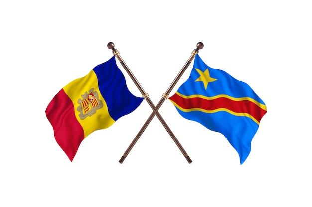 Andorra versus democratische republiek congo twee landen vlaggen achtergrond
