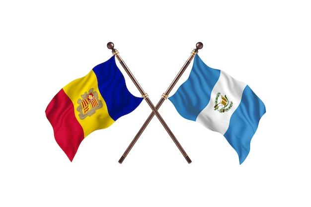 Andorra versus guatemala twee landen vlaggen achtergrond