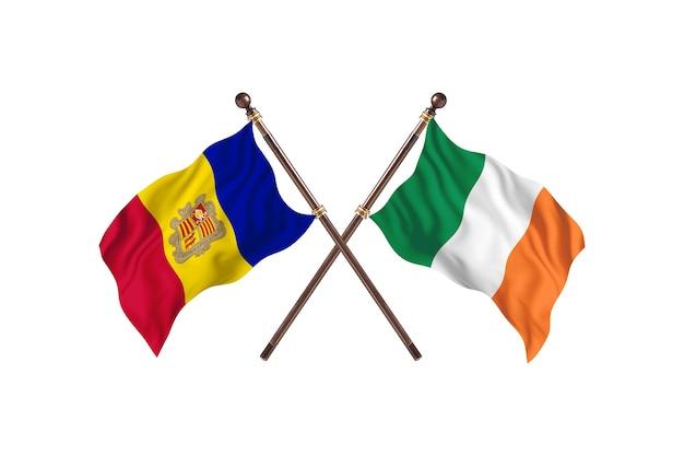 Andorra versus ierland twee landen vlaggen achtergrond