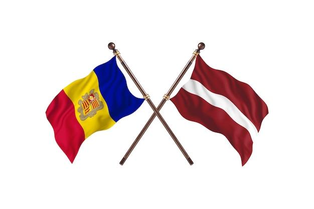 Andorra versus letland twee landen vlaggen achtergrond
