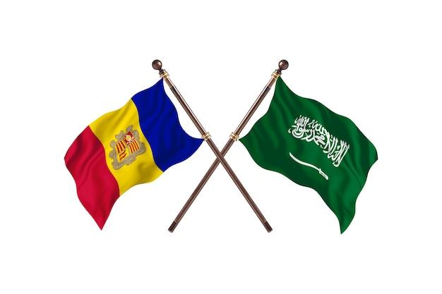 Andorra versus saoedi-arabië twee landen vlaggen achtergrond