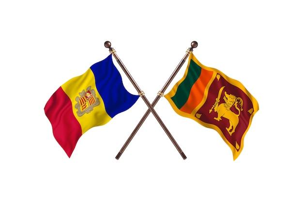 Andorra versus sri lanka twee landen vlaggen achtergrond