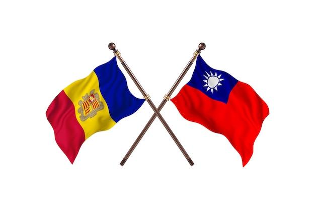 Andorra versus taiwan twee landen vlaggen achtergrond