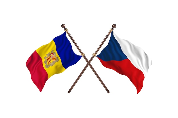 Andorra versus tsjechië twee landen vlaggen achtergrond