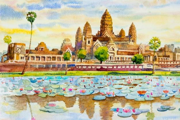 Angkor wat-tempel, cambodja, zuidoost-azië.