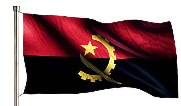 Angola nationale vlag geïsoleerde 3d witte achtergrond