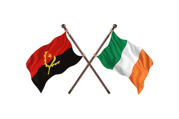 Angola versus ierland twee landen vlaggen achtergrond