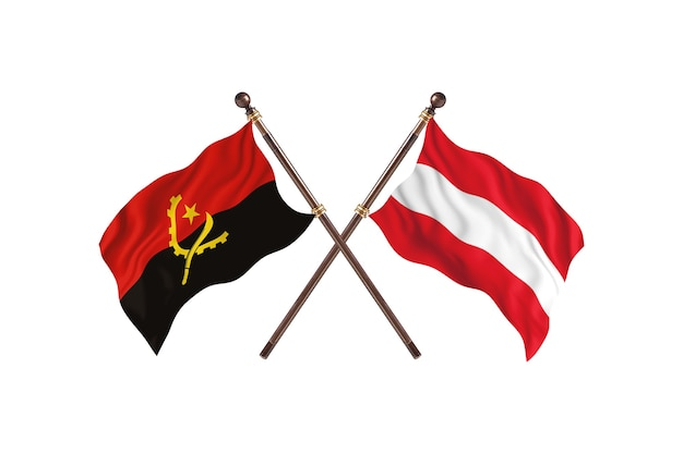 Angola versus oostenrijk twee landen vlaggen achtergrond