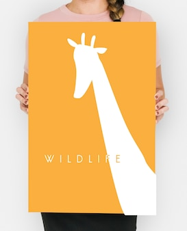 Animal wildlife word met giraffe graphic