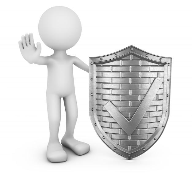 Anonieme man en metalen schild met een vinkje. 3d-visualisatie
